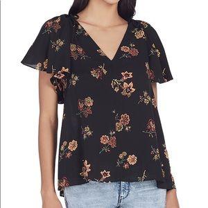 NWT A.L.C. Clara V-Neck Floral-Print Silk Top